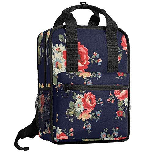 Mochila de viaje para ordenador o estudiante, bolso de mano, informal, regalo para hombres y mujeres, rosas clásicas