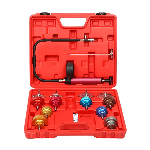 Amazing Deal 8MILELAKE 14 PCs Pressure Cooling System car Leak Tester Kit Detector Tool Auto Coolant...