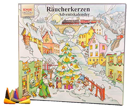 Knox Räucherkerzen Adventskalender mit 24 verschiedenen Düften - Winterdorf - 2019 - Made in Germany