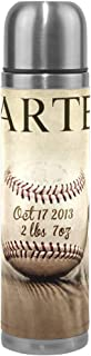 Thermos 17.5oz Custom Vintage Baseballs Personalized Kids Adults Vacuum Insulated Stainless Steel Water Bottle