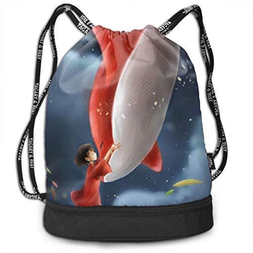 Big Fish & Begonia Kordelzug Bapa Gym Sports String Bag für Schulreisen Drawsting Bag Jungen Mädchen Bapas Taschen