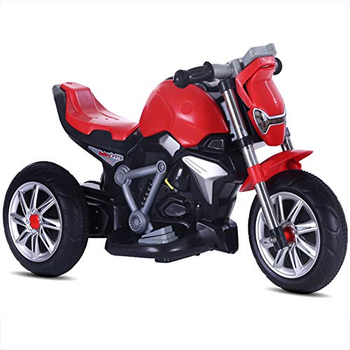 SUN JUNWEI Elektromotorrad Kinderelektroauto,Das Elektrische Motorrad Für Kinder Kann Auf Dem Babywagen Mit Doppelantrieb Und Batterie Sitzen,Rot