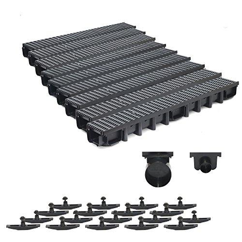 9m Entwässerungsrinne Belastungsklasse B125, 98mm komplett SET Stegrost Kunststoff (schwarz)