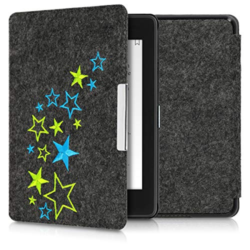 kwmobile Case Compatible with Amazon Kindle Paperwhite (10. Gen - 2018) - Book Style Felt Fabric Protective e-Reader Cover Folio Case - Star Mix Light Green/Blue/Dark Grey