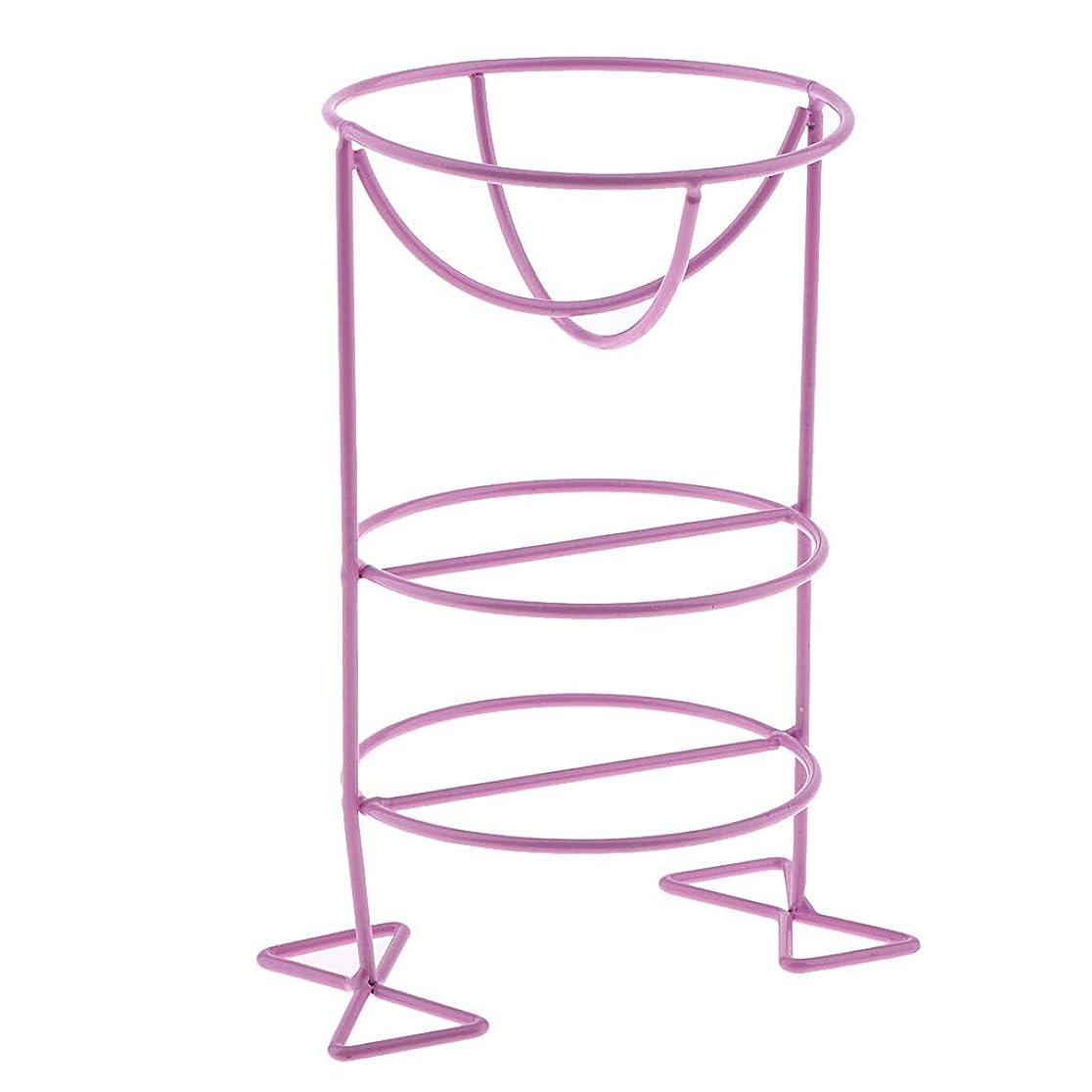 ギャンブル傾斜波P Prettyia 化粧パフホルダー パフスタンド 可愛い お化粧 3色選べ - 紫