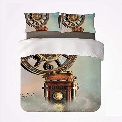Juego de Funda nórdica Fantasy Durable 3 Juego de Cama, Paisaje mágico Encantado, Gran Reloj Antiguo, pájaros voladores, Cuento de Hadas para Interiores