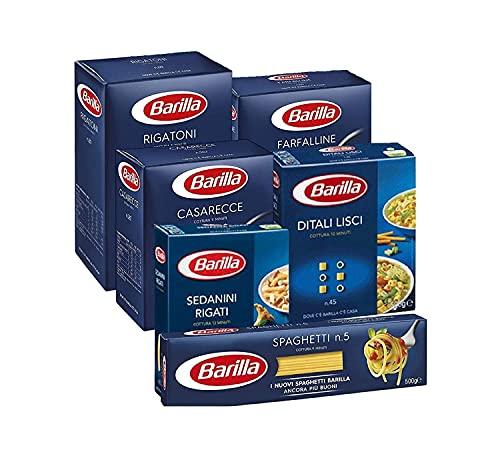 Barilla Pasta Variety Pack, Multipack con 6 tipi - Casarecce, Rigatoni, Farfalline, Spaghetti, Sedanini Rigati, Ditali Lisci, 6 confezioni da 500 g - 3 kg (Pack 2)