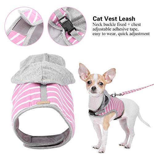 Cat Stripe Hooded Vest Kragen und Leine Set Einstellbare Cat Walking Harness für Katzen und Small Pet Walking(Pink)