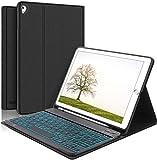 KVAGO Funda con Teclado para iPad 6 2018/iPad 5 2017 9.7' Modelos - Diseño en Español Teclado Bluetooth Retroiluminado Compatible con Air 2/Air/Pro 9.7, Cover Auto-Sueño/Estela, Negro