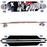 FunTomia Longboard Skateboard Drop Through Cruiser Komplettboard mit Mach1 High Speed Kugellager T-Tool mit und ohne LED Rollen - 2