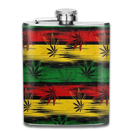 Rundafuwu Frasco para Licor, Stainless Steel Flask Abstract Colored Marijuana Cannabis Stripe Whiskey Flask Vodka Portable Pocket Bottle Camping Wine Bottle 7oz Suitable For Men and Women