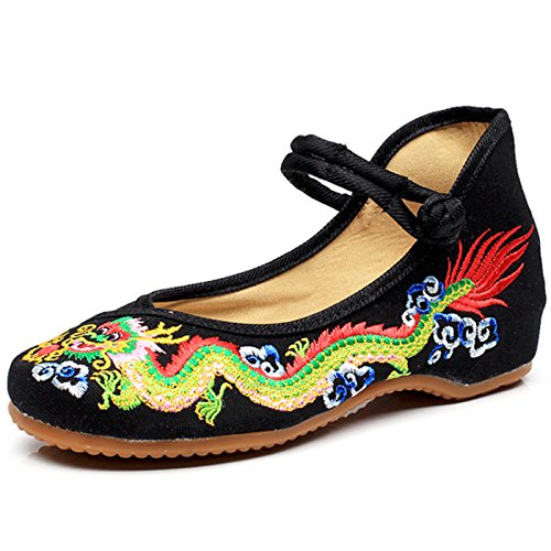 Qhome Womens Chinese Traditional Dragon Embroidery Flats Cheongsam Walking Mary Jane Shoes Black
