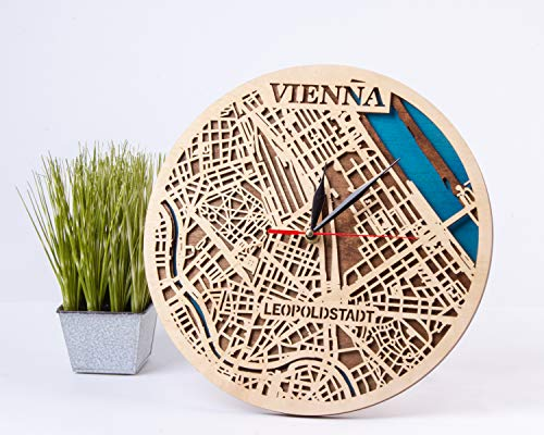 Wanduhr aus Holz mit Wiener Karte Design Österreich Holzdekor 12 Zoll Holzuhr Wien Holz Wanduhr Geburtstagsgeschenk für Mann klein Maßstabskarte Geschenk Stadt Kunst Wien 3D Holz Landkarte Uhr
