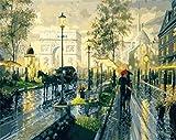 LUOTINGL Set de Pintura para Adultos Pinturas artísticas de Bricolaje Notre Dame Street View es una Herramienta de Pintura para Principiantes y niños-No Frame-40x50cm