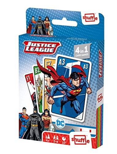 Juego de Cartas Shuffle Fun La Liga de la Justicia 4 en 1 - Baraja de Cartas con 4 Juegos de Snap, Familias, Parejas y Juego de Acción