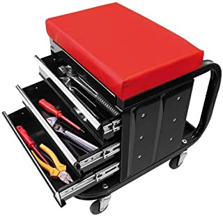 CG Car Professional 580526 Mobile Workshop Stool with Storage Drawers