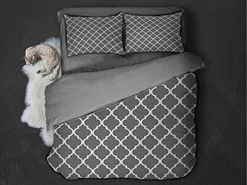 Grey Comfort Luxurious Softest Premium Bed Sheet Set Quatrefoil Pattern Barbed Design Geometric Leaf Print Lattice Country Life Inspired Anti-wrinkle and anti-fading (Twin) Gray White