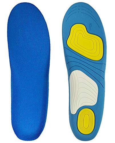 低反発インソール 衝撃吸収中敷き メンズ 足裏サポーター (ブルー, S)