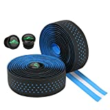 Ideashop 2Pcs Bike Handlebar Tapes, 3mm Thickness EVA Bicycle Bar Tape with 2Pcs Bar End Plugs and Self-Adhesive Strips, Anti-Vibration Damping Cycling Handle Wraps for Road Mountain Bike, Blue