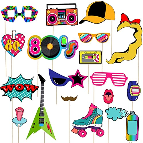 MIAIULIA 80s Party Photo Booth Props Funny Birthday Party Photo Booth Props with Wooden Sticks 21 Count Creative Party…