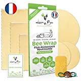 Loomy Bee Wrap ou Emballage Cire d'abeille Réutilisable - Lot de 6 - Film Alimentaire Réutilisable écologique, Lavable et zéro déchet -Cire Incluse- Beewrap Made in France (Écru Naturel)