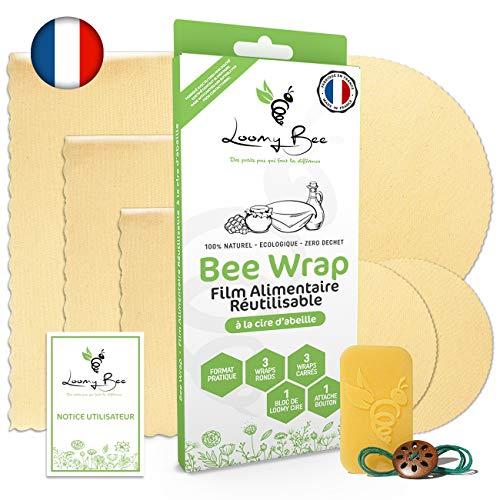 Loomy Bee Wrap ou Emballage en Cire d'abeille Réutilisable - Lot de 6 - Film Alimentaire Réutilisable écologique, Lavable et zéro déchet -Cire Incluse- Beewrap Made in France (Écru Naturel)