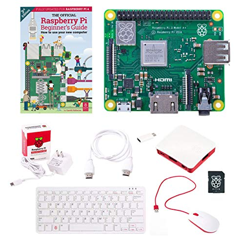Raspberry Pi 3A+ Official Starter Kit w/Pi 3 Model A Plus Boards, 16GB Micro SD Card, USB Mouse, USB Keyboard, Power Supply, Case and HDMI Cable - Just Connect to HDMI Display