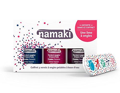 Namaki- Coffret Vernis pelables Bleu Nuit-Griotte-Prune + Lime à Ongles Vegan, 110903,