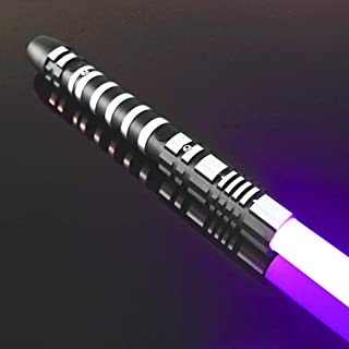 YDD GENIUS Star Wars Lightsaber Purple Led Light Metal Aluminum Hilt, Ghost Premium Force FX Black Series Light Saber for Adults and Kids, Support Real Heavy Dueling