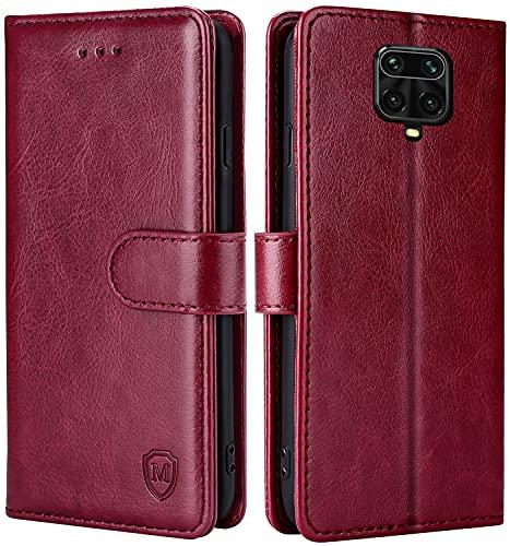 FMPCUON Hülle für Xiaomi Redmi Note 9S/Note 9 Pro/Note 9 Pro Max/Poco M2 Handyhülle [Standfunktion] [Magnetverschluss] Tasche Flip Hülle Schutzhülle lederhülle flip case für Rot