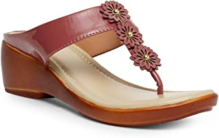 Butterflies Steps Latest Collection, Comfortable Wedges Sandal for Women's & Girl's (Burgundy) (GHS-0073BGD)