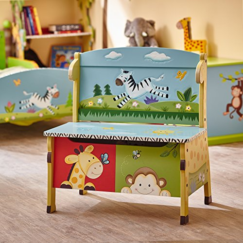 Fantasy Fields - Sunny Safari Animals Thematic Kids Storage Bench   Imagination Inspiring Hand Crafted & Hand Painted Details Non-Toxic, Lead Free Water-Based Paint