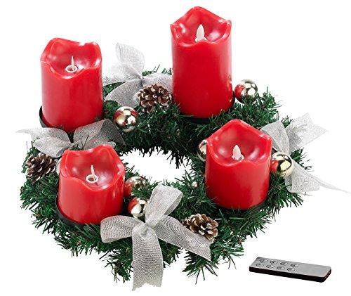 Britesta Tannenkranz LED-Kerze: Adventskranz, silbern, 4 rote LED-Kerzen mit bewegter Flamme (Adventskranz ohne Echte Kerzen)