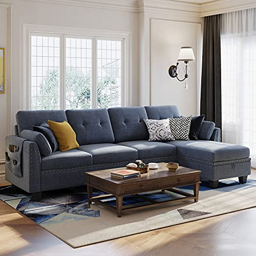 Nolany Corner Sofa 4 Seater Couch with Storage Ottoman Chaise Sectional L-Shaped Sofa for Living Room(Bluish Grey)