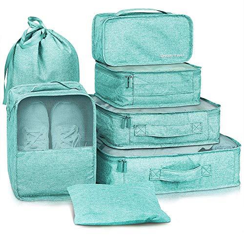 Yeahmart Packing Cubes 7 Set Travel Luggage Organizers with Laundry Bag (Tiffany Blue)