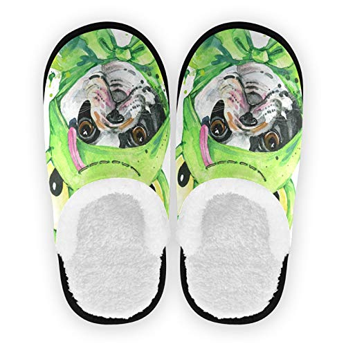 SUABO Cotton Slippers for Womens Mens, Cute French Bulldog Washable Non-Slip Slippers for Home, Travel, Spa, Hotel, M