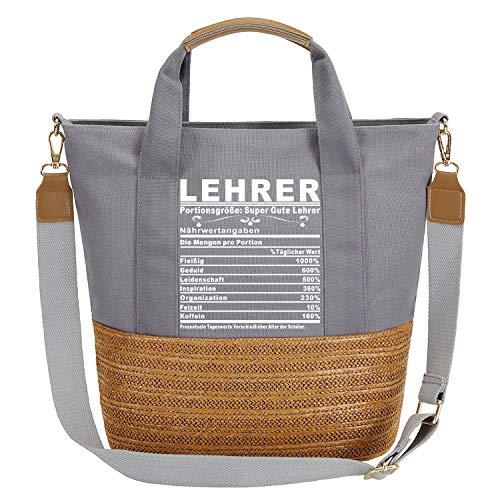 So'each Damen Handtasche Super Gute Lehrer Tote Weave Schultertasche Grau