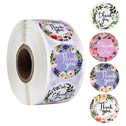FOLODA 500 plantillas troqueladas con 4 diseños de flores, pegatinas de agradecimiento para regalos de boda, fiestas, hechas a mano, álbumes de recortes, etiquetas de sello.