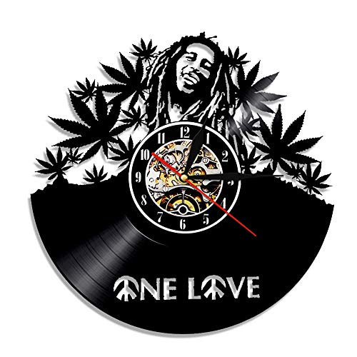 YUN Clock Wanduhr aus Vinyl Schallplattenuhr Upcycling 3D Bob Marley Design-Uhr Wand-Deko Vintage Familien Zimmer Dekoration Kunst Geschenk, Durchmesser 30 cm