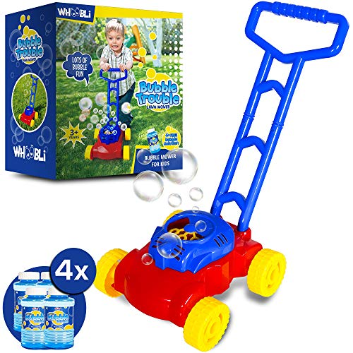 whoobli Bubble Lawn Mower for Toddlers (up to Age 4) with 4X Refills, Outdoor & Indoor Kids Toy Lawn Mower Bubble Machine for Toddler Boys & Girls