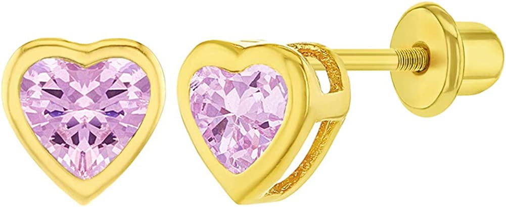 Gold Plated White Cubic Zirconia Selling and selling Heart Screw Back Safety Earring Selling and selling