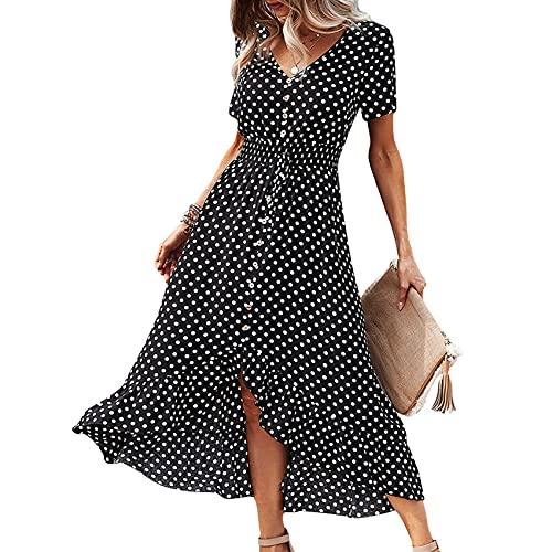 Lente en zomer dames casual Hedging V-hals Polka Dot Printing taille voorkant korte rug lange korte mouwen mid-length grote swing rok jurk vrouwen - zwart - 5XL
