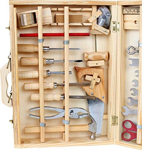 """Werkzeugkoffer """"Deluxe"""" aus Holz, mit 48 Teilen für kleine Heimwerker ab 8 Jahren, das passende Werkzeug für die notwendige Reparatur - 2"""