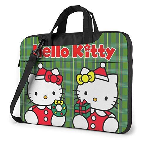Cartoon Hello Kitty Christmas Laptop Bag 14 15 15.6 Inch Briefcase Shoulder Messenger Bag Water Repellent Laptop Bag Satchel Tablet Bussiness Carrying Handbag for Women and Men14 inch