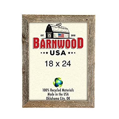 BarnwoodUSA Rustic 18x24 Inch Wooden Picture Frame with 1 5/8 Inch Wide Molding - 100% Reclaimed Wood, Weathered Gray