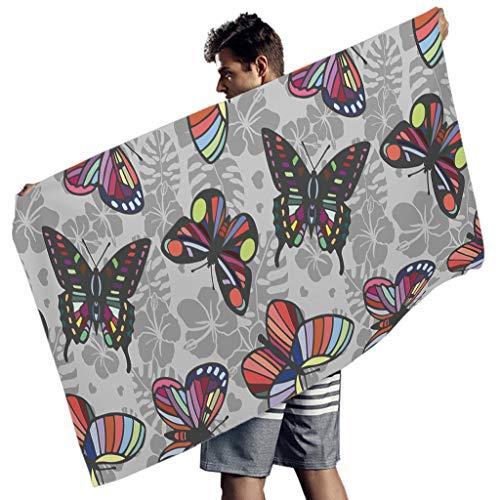 Perstonnoli Toalla de playa de microfibra ligera con diseño de mariposas, flores, toalla de playa, toalla de playa, esterilla de yoga, toalla de deporte, rectangular, color blanco, 150 x 75 cm