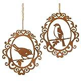 Dragimex Rostdeko Hänger - Vögel im Ornamentrahmen - 2 Stück Sortiert - Vogel Naturrost Metall je 17x19cm Vögel Rost Gartendekoration