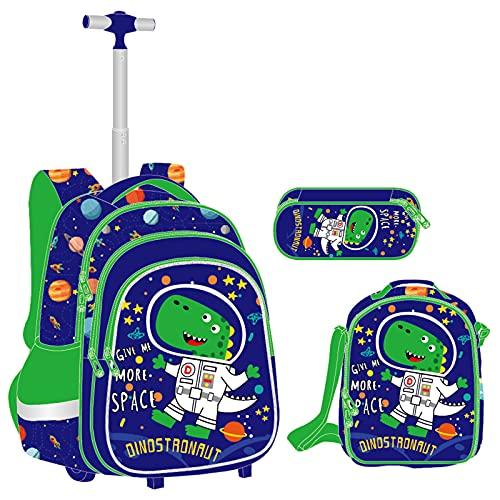 Mochilas Escolares con Ruedas Niños, Mochila Trolley con Bolsa de Almuerzo Estuche para Lápices Bolsas Escolares Primaria de Carcasa Rígida Estampado de Dibujos Animados(Dinosaurio)