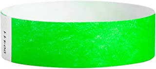 WristCo Neon Green 3/4 Inch Premium Black Light Security 500 Count Paper Wristbands for Events