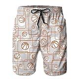 Jiger Mens Beach Shorts Basketball Pattern Rectangle Vector Humor Quick Dry Cargo Shorts Beach ShortsM